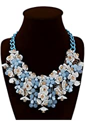 Fashion Stunning Style Pure Fresh and Candy Color Crystal Gem Flower Necklace Collar Bib for Women