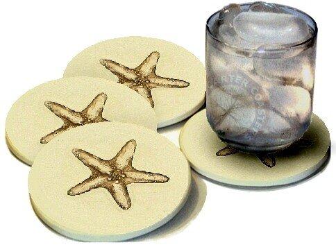 Stoneware Drink Coasters - Starfish - Set of 4