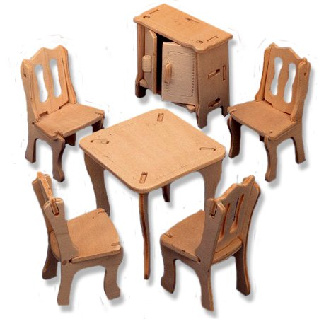 3-D Wooden Puzzle - Dollhouse Diningroom Furniture Set -Affordable Gift for your Little One! Item #DCHI-WPZ-P011
