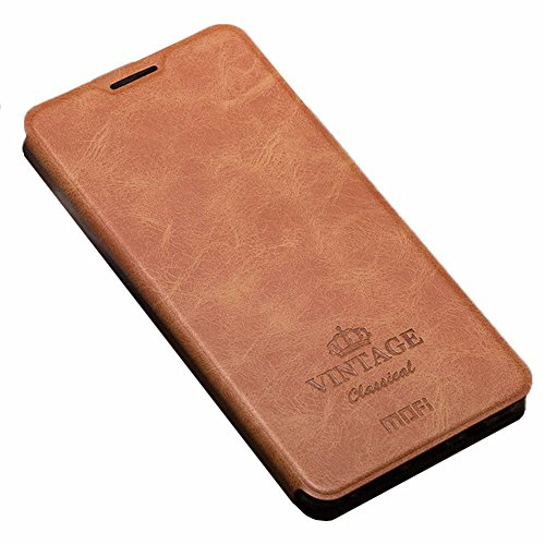 01. OnePlus 3 Case, Asmart Slim Pu Leather Flip Cover with TPU Bumper Phone Case for OnePlus 3, Card Slot, Multi-angle Stand (Brown)