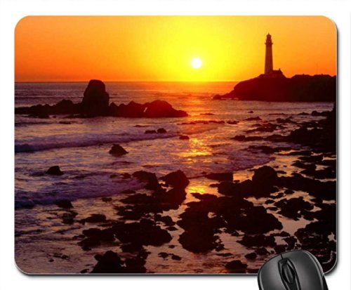 golden sunset pigeon point california san mateo county Mouse Pad, Mousepad (Lighthouses Mouse Pad)