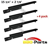 """23301 (4-pack) BBQ Barbecue Replacement Gas Grill Cast Iron Burner for Aussie, Bakers and Chefs, Barbeques Galore (Turbo), Bull, Calaphon, Centro, Charbroil, Char broil, Coleman, Costco, Glen Canyon, Grand Hall, Nexgrill, Sams, Sams, Sterling Forge, Sunshine, Lowes Model Grills (15 3/4"""" x 2 7/8"""")"""