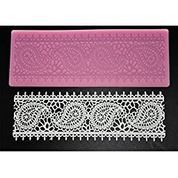 FOUR-C Cake Supplies Lace Silicone Mat Lace Mold for Sugar Craft Color Pink