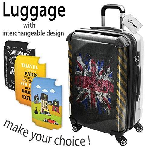 Graffiti Bandiera Regno Unito, Luggage Valigia Bagaglio Ultraleggero Trasportabile Rigido con 4 Route e Disegno Intercambiabile. Dimensione: medio, M