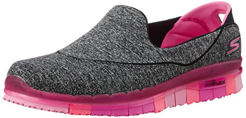 Skechers Performance Women's Go Flex Slip-On Walking Shoe, Black/Hot Pink, 7.5 M...