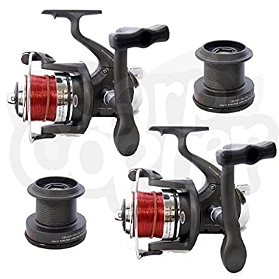 NGT 2 x Large Sea Fishing Beachcaster Reel Reels With Line & Spare Spools 3BB by Carp Corner