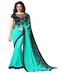 WXW Fashion Women's Velvet Saree with Blouse Piece(WXWAZYC105_Turquoise)
