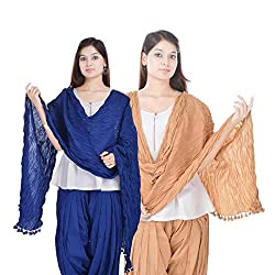 Kalrav Solid Blue and Beige Cotton Dupatta Combo