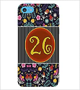 PrintDhaba Numerology Number 26 D-3115 Back Case Cover for APPLE IPHONE 5C (Multi-Coloured)