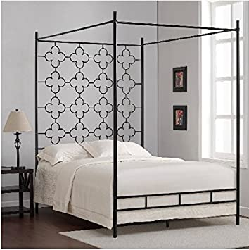 Quatrefoil Full Sized Contemporary Metal Canopy Bed