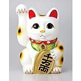 白手長小判猫 3号(右手) 【常滑焼招き猫】 【置物】 【縁起物】 [インテリア小物] 〔キャッシュバックキャンペーン対象商品〕