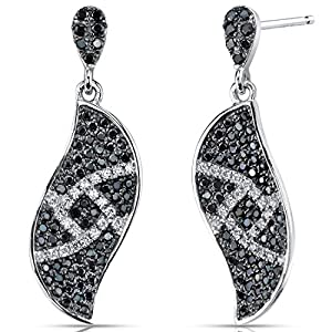 Elegant Wave Black and White CZ Sterling Silver Rhodium Nickel Finish Dangle Earrings