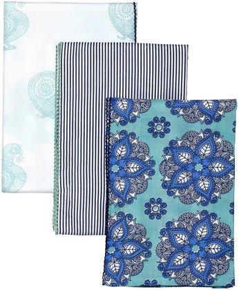Masala India Rose Swaddle Set - Turquoise/Navy