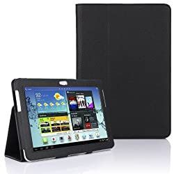 Black Luxury Multi Function Standby Case with Built-in Magnet for Sleep / Wake feature for the Samsung Galaxy Note 10.1 N8000 N8010 Tablet + Screen Protector + Stylus Pen (Available in Multiple Colours)