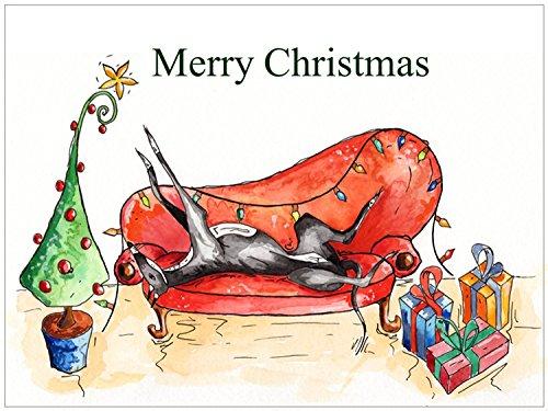 christmas-xmas-card-roaching-greyhound-whippet-lurcher-italian-dog