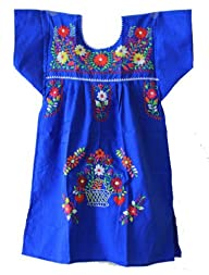 Mexican Puebla Dress Youth Girls, Blu…