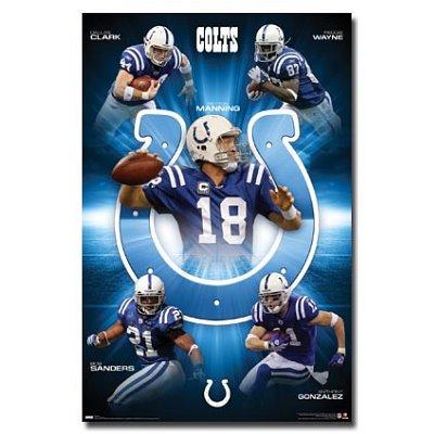 Peyton Manning Broncos on 22x34  Indianapolis Colts Peyton Manning  Dallas Clark  Reggie Wayne