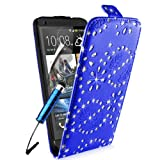 SUPERGETS® HTC One M7 Premium Diamond Design Top Flip Case Cover, Screen Protector and Polishing Cloth + High Capacitive Touch Screen Stylus - Dark Blue