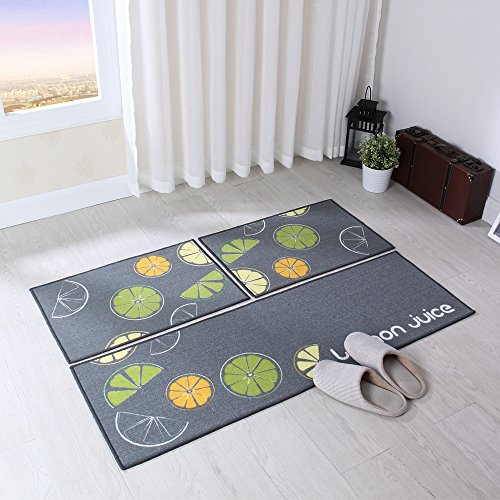 Carvapet 3 Piece Non-Slip Kitchen Mat Rubber Backing Doormat Runner Rug Set, Lemon Design (Grey 15