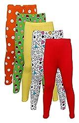 Little Stars Girls' Cotton Regular Fit Leggings- Pack of 5 (Po5L_109_24, Multi-Colour, 3-4 Years)