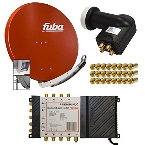 PremiumX Antenne Fuba DAA 780 R 74x84 cm Alu Rot + PremiumX Multischalter 5/8 Multiswitch Matrix 5-8 mit Netzteil Sat Digital Switch für 8 Teilnehmer + SkyRevolt Quattro LNB + 24 F-Stecker GRATIS