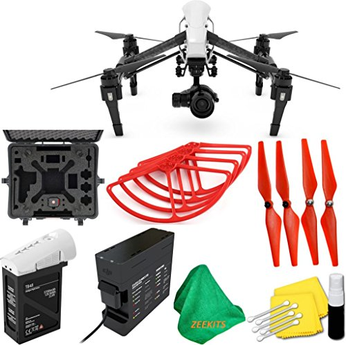 DJI Inspire 1 PRO Drone with Single Remote Controller & Lens + Deluxe Hard Case + 4pcs Red Propellers + Red Propeller Guards + ZEEKITS Microfiber Cloth + Lens Cleaning Kit for DJI