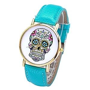 Smartbargain 33mm Women's Golden Day of Dead Sugar Skull Cross Quartz Analog Wrist Watch (Lake Blue) by Smartbargain