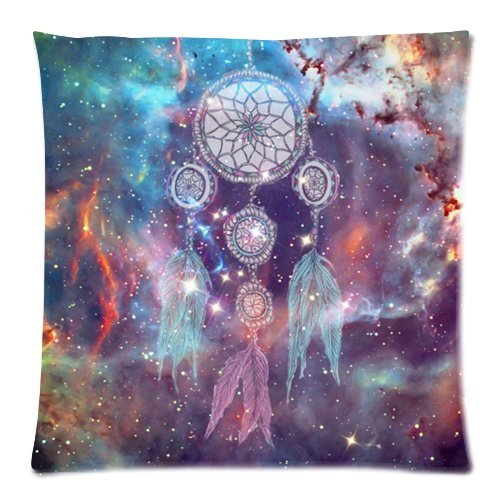 Dream Catcher Cushion Cover Case Zippered Pillow Cover Square Throw Pillow Shell Pillowcase for Sofa 18 X 18 Inch (Twin Sides)
