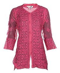 Indiankala4u Ladies Chikan Resham Thread Hand Embroidery Georgette Top