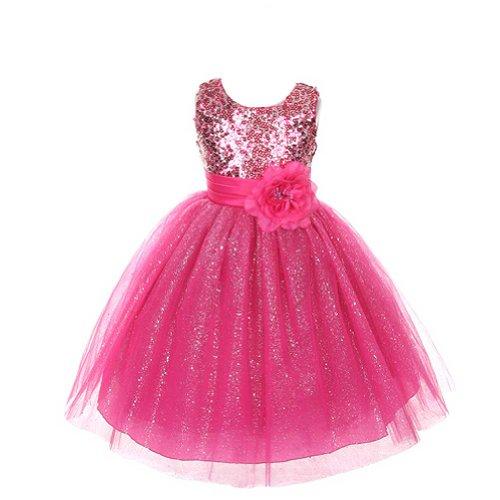Rain Kids Girls 8 Fuchsia Sequin Sleeveless Tulle Pageant Dress front-681014