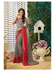 AG Lifestyle Gray & Red Faux Georgette Saree With Unstitched Blouse AKS2010
