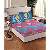 Disney- Athom Trendz- Princess- Cotton Double Bed Sheet Set- Pink
