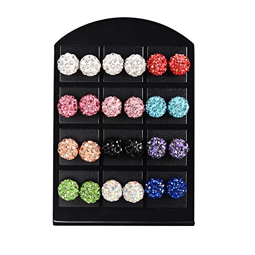 MBOX 12 Pairs Rhinestones Crystal Fireball Disco Ball Ball Stud Earrings, Stainless Steel, Hypoallergenic (10MM)