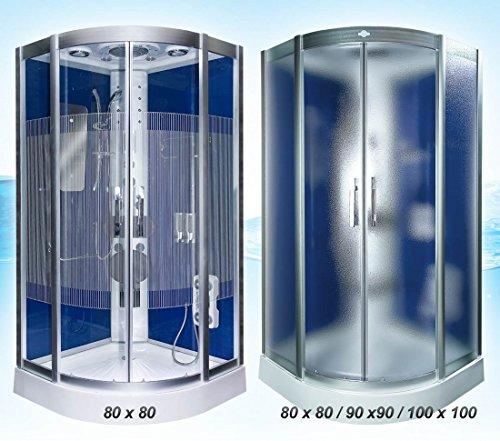 Dampfdusche Dusche Duschtempel Fertigdusche 80x80 90x90 100x100 AcquaVapore DTP8046 DBL-SS-DF-TH, EasyClean Versiegelung der Scheiben:Nein +0.-EUR;Abmessungen:XL / 90x90x225cm +40.-EUR
