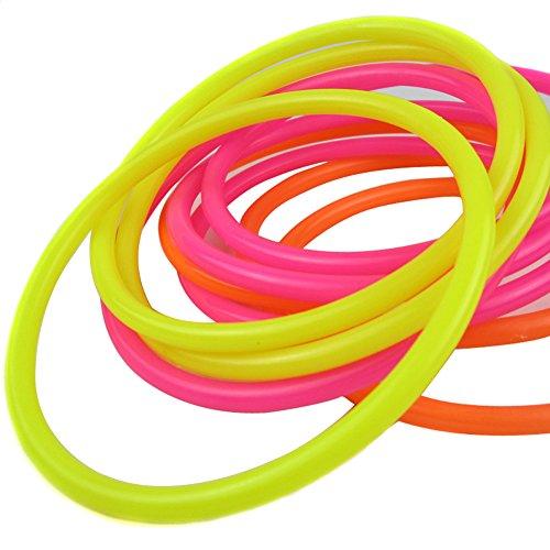 TININNA Quoits da Giardino, - Gioco di lancio degli anelli,Gioco degli anelli di plastica, Set Festa per Bambini ambienti esterni ed interni,10 Anelli