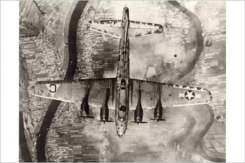 Photographic Print of Boeing B-17 Flying Fortress from above
