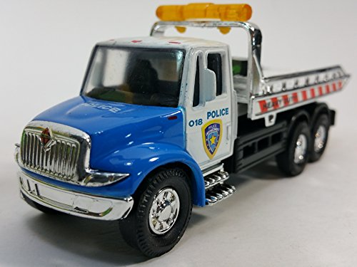 Showcasts Blue & White (NYPD Colors) Police Flatbed Tow Truck Functional Rollback Wrecker 1/64 Scale Commercial Vehicle (Wrecker Flatbed compare prices)