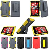 For Nokia Lumia 820 CellularvillaTM 3pc 3rd Gen Hard and Soft Grey/Yellow Kickstand Case with Holster Clip (Only Fit Nokia Lumia 820) (Grey/Yellow)