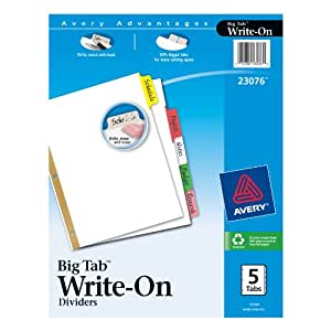 Avery  Big Tab Write-On Dividers, 5-Tab Set, 1 Set (23076)