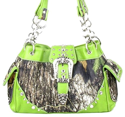Western Belt Buckle Purse Camouflage Camo Handbag (Green)