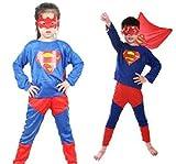 スーパーマン (子供Mサイズ, 6-8歳) コスプレ 衣装 コスチューム ハロウィン クリスマス 子供 キッズ 男児 男子 女児 女子 オリジナルキーホルダー付き hw143