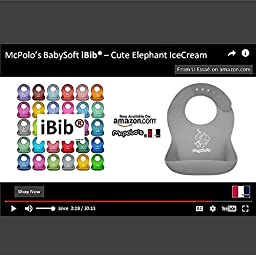 McPolo\'s Cute Elephant IceCream iBib Portable Silicone Baby Bib - Waterproof Food Crumb Catcher Pocket Ultra Soft Easily Wipes Clean Stains Off - Best for 2 MO to 6 YO Babies Toddlers PreSchoolers