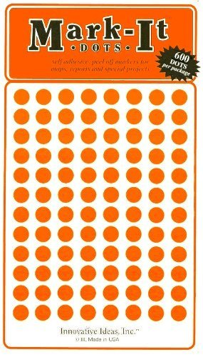 "Map Dot Stickers - 1/4"" Diameter - Orange"
