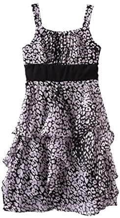 Emily West Girls 7-16 Updated Animal Print Dress, Black/White, 14