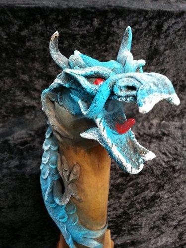 Diseño de dragón quemador de incienso, hechos a mano en bambú y virutas de madera - AZUL 30 cm para ahumar Dragon Verticle