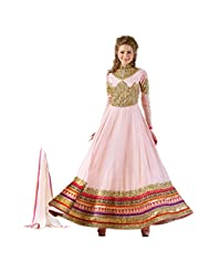 Fabefy Light Dusty Pink Party Wear Anarkali Suit In Pure Georgette