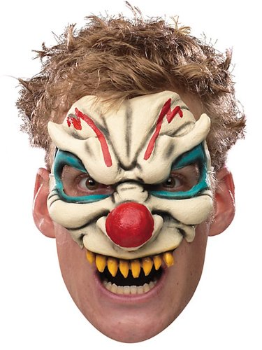Adult Evil Clown Chinless Costume Half Vinyl Mask