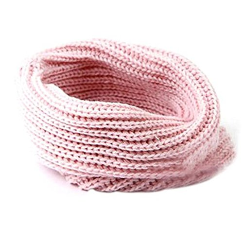 Hellopretty Women'S Warm Infinity One Circle Knit Wool Blend Cowl Loop Scarf Pink