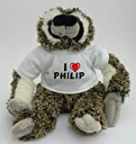 Personalised sloth plush toy with I love Philip T-Shirt (first name/surname/nickname)