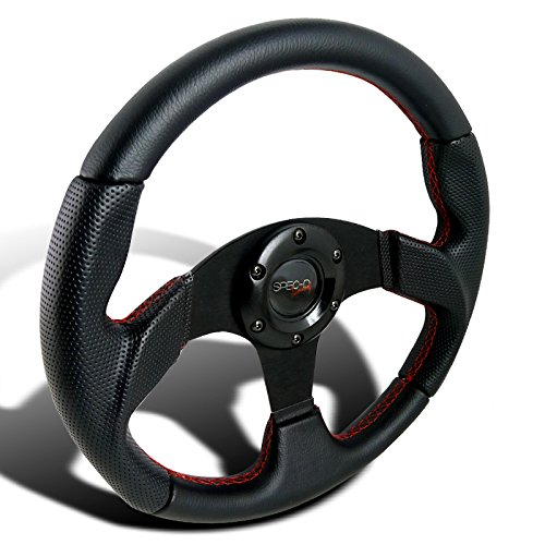 Spec-D Tuning SW-106RS 320MM Black Leather Red Stitch Sport Racing Steering Wheel (Maxima Steering Wheel compare prices)